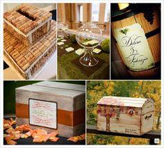 mariage automne urne bouchon de liege, coffre en bois,  bocal, tonneau