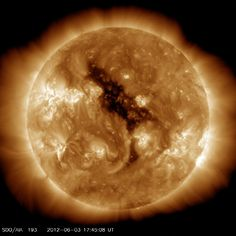 Coronal holes are regions where the sun's corona is dark. These features were discovered when X-ray telescopes were first flown above the Earth's atmosphere to reveal the structure of the corona across the solar disc. Coronal holes are associated with 'open' magnetic field lines and are often found at the sun's poles.