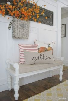 Simple Farmhouse Entrance with White Bench