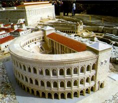 The theater with the temple mount in the background.  (Model, Holy Land Hotel, Jerusalem)