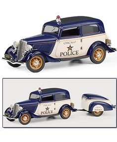 This Ford Deluxe Tudor (Police Car with Trailer 1933) Diecast Model Car is Blue and White and features working suspension, wheels. It is made by Franklin Mint and is 1:24 scale (approx. 29cm / 11.4in long).    Your ticket to police excitement can be heard through the roar of the siren as this 1933 Ford Tudor police car races through Chicago in pursuit of mob bosses and scofflaws. Feel the gangster danger, the ratt-a-tatt of the Tommy Gun and the sound of victory as the long arm of the law…