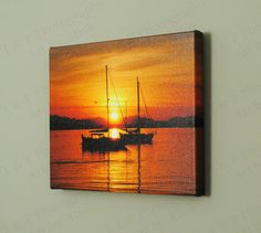 art Sailboat canvas print sunset photo ocean love gift 8 x 10 solid wood frame (61.97 CAD) by Turtlesandpeace
