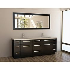 @Overstock - Combining style and functionality, this oversize double sink vanity will become the center spot light of your master bathroom. With a deep espresso finish, this 9-drawer vanity set is finished with modern satin nickel hardware.http://www.overstock.com/Home-Garden/Design-Element-Contemporary-Espresso-Double-Sink-Vanity-Set/6366466/product.html?CID=214117 $2,107.99