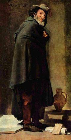 'Menippos', öl auf leinwand von Diego Velazquez (1599-1660, Spain)