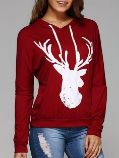 Long Sleeve Deer Print Hooded T-Shirt