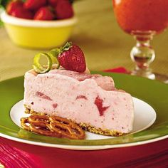 Spiked Strawberry-Lime Ice-Cream Pie     This top-rated pie recipe features a unique combination of salty pretzel crust and sweet strawberry ice-cream. Garnish with lime rind curls, fresh whole strawberries and pretzels for a pretty presentation.