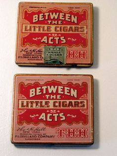 2 Vintage BETWEEN THE ACTS Little Cigars Tins THH Tax Stamp Lorillard USA Empty