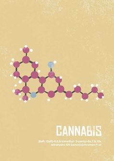 Cannabis - click through for more common chemical compounds, beautifully illustrated.