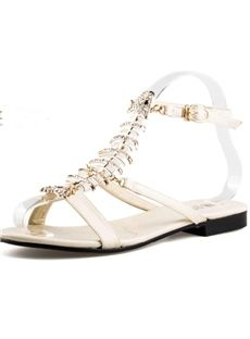 Fashion Rhinestone Fishbone Flat Sandals