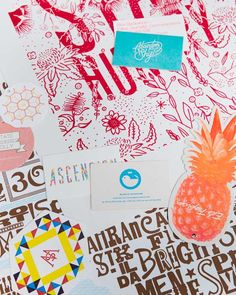 Various beautiful printed pieces by Melbourne letterpress printers, The Hungry Workshop. Photo -Sean Fennessy.