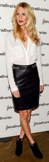 Poppy Delevingne in white shirt and black leather skirt #fashion #style
