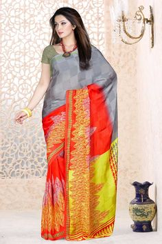 Grey Red With Yellow Georgette Saree and Grey Blouse Price:-£29.00 Indian Designer Grey Red With Yellow Sarees are now in store presents by Andaaz Fashion. Embellished with printed work and Grey Georgette Short Sleeve Blouse. This is perfect for Party, bridal wear, festival wear, casual, ceremonial. http://www.andaazfashion.co.uk/grey-red-with-yellow-georgette-saree-and-grey-blouse-dmv7882.html