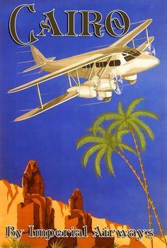 Habrá sido toda una colorida aventura.   Poster Air travel to Cairo, 1920s.