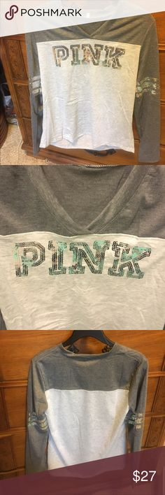 Pink V Neck Knock off Pink Bling V Neck NWOT Tops Tees - Long Sleeve
