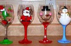 Hand Painted Wine Glasses!!! xmas edition!