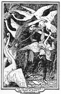 The Six Brothers Changed into Swans by their Stepmother    Henry Justice Ford (1860-1940)