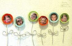 Collect smiling faces of the ones you love to make these adorable and happy flower magnets with bottle caps, armature wire and a little paint. Plastic Bottle Crafts, Bottle Cap Crafts, Diy Bottle, Crafts To Make And Sell, Diy Arts And Crafts, Diy Crafts, Reuse Bottles, Old Bottles, Bottle Cap Table