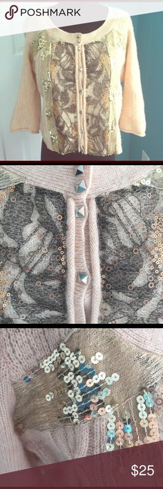 Amazing free people embellished cardigan M Excellent condition. Wool angora blend. Free people M. Peach color with gold mesh and sequins.  Slightly cropped fit Free People Sweaters Cardigans