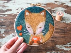 Hey, I found this really awesome Etsy listing at https://www.etsy.com/listing/210818900/tea-time-fox-needle-felted-embroidery