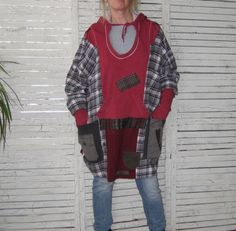 Upcycled Hoodie One Size Plus Size Upcycled by AnikaDesigns, $87.00