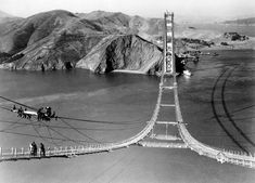 Construction of the Golden Gate Bridge, San Francisco, 1935.