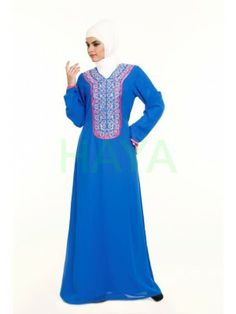 Blue Abaya with thread embroidery in front. Blue Abaya 244d527f026e