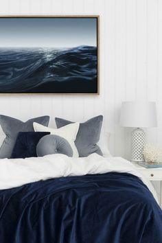 ocean art from urban road in white and navy blue bedroom decor navy Best Colours to add to all-white rooms Navy Blue Bedrooms, Black White Bedrooms, All White Room, Blue Rooms, White Rooms, Bedroom Black, White Space, White And Navy Bedding, Navy Master Bedroom