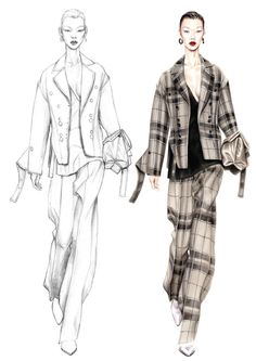 Alessia Zambonin - Istituto Marangoni Fashion Illustration, sketch and rendering #Celine #Tartan #fashionsketch #womanfashion #fashiondrawing #pantone #copic #fashionillustration #fashionmodel #girl #blazer #PantSuit #jacket #plaid #warmgrey #alessiazambonin #fuchsiart