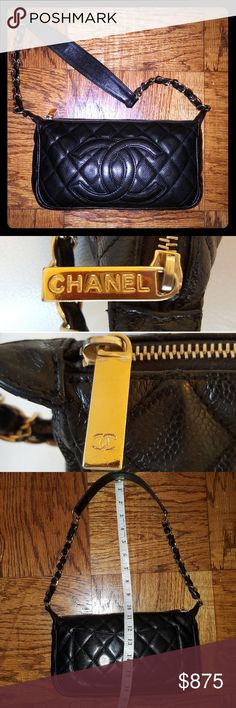 Authentic Vintage CHANEL CAVIAR Leather Handbag Authentic vintage caviar leather CHANEL quilted Pochette. Hand-selected by a WeStileU Stylist (as are all of our items). CC Logo front. Great condition w/ some wear. Trendy, timeless& classic. Inner&outer pockets. Purchased in Chicago CHANEL boutique. Fashionista Lane piece!  Need help styling? No problem! After your purchase, we will provide you w/info on how to set up a free consultation w/one of our professional Stylists! Note: Larger…