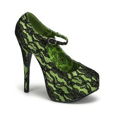 Psychobilly Green Bordello Shoes i want my bridesmaids to wear these with a little black dress