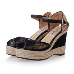 Leather-trimmed, black lace-covered diaphanous mesh upper. Woven tweed heel with adjustable kidskin ankle strap.
