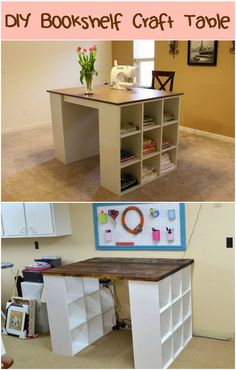 Build yourself a craft table with just two small bookshelves, a board and a little paint!