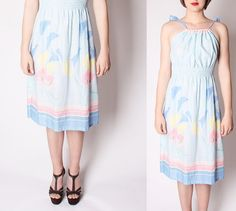 Pastel Lily Floral Rainbow Cotton Vintage Dress / by aiseirigh, $44.00