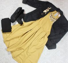 How is this AH-MAZ-ZING Amelia still in my possession? Can you say fall trend? This dress good perfectly with this black linen blazer, black opaque tights, bootie heels, and Stella & dot Pearl Statement pieces. Own the boardroom or the night club!