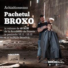 Achizitioneaza  Pachetul BROXO in valoare de 40 RON de la Academia de Frizerie  in perioada 10.11 - 10.12 si ai multiple beneficii:  Prin Pachetul BROXO ce include tuns, spalat si styling obtii o reducere de 10% la produsele disponibile pe www.broxo.ro  (pastreaza bonul fiscal pentru validare) Intri pe loc in tombola din data de 11.12 pentru o pereche Reebok Furylite + Pachetul Relaxare (transmisa live pe pagina de Facebook: Academia de Frizerie)