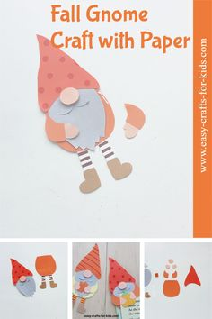 Autumn gnome craft with paper. Make this cute Fall bookmark with a gnome