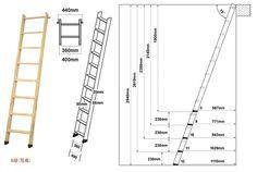 ロフトはしご、北欧パインの寸法図