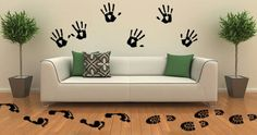 Between cats and dogs wall decals Set of 36 by Dezignwithaz Animal Wall Decals, Vinyl Wall Decals, Wall Stickers, Sticker Vinyl, Custom Decals, Custom Wall, Cat Footprint, Wall Clings, Removable Wall