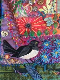 Willy Wagtail by Robyn Ginn Crazy Quilt Blocks, Crazy Quilting, Wrens, Crazy Patchwork, Creative Embroidery, Hexagons, Beaded Embroidery, Grape Vines, Needlework