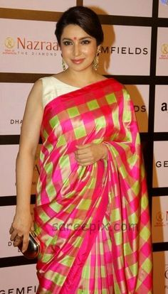 Tisca chopra in silk saree at Gemfields and Nazrana Retail Jeweller India Awards It is a raw mango,pink and green checks saree. Tisca chopra at Indian Beauty Saree, Indian Sarees, Silk Sarees, Saris, Indian Actress Photos, Indian Actresses, Indian Celebrities, Bollywood Celebrities, Indian Attire