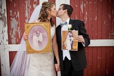 The couple held pictures of their parents' wedding photos