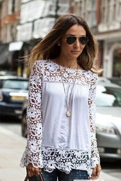 White Lace Hollow Out Long Sleeve Blouse. Starting at $14