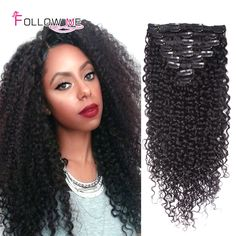 Follow Me Kinky Curly Clip In Hair Extensions Virgin Hair Kinky Curly Clip Ins African American Clip In Human Hair Extensions