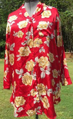 Victoria's Secret Sz s Red Roses Satin Sleep Shirt Women's Pajamas | eBay