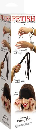 Lovers Fantasy Kit - Explore each other's naughty side with this Lover's Fantasy Kit! includes: Leather Whip Metal Handcuffs with Keys Free Satin Love Mask.