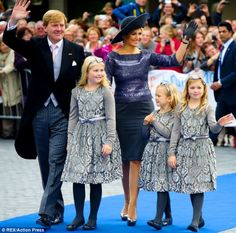 King Willem-Alexander and Queen Maxima seen at the church with their daughters Princess Amalia, Princess Ariane and Princess Alexia