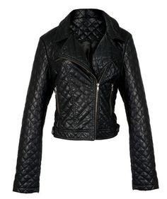 Casaco de couro sintético C preto matelassê, R$ 169