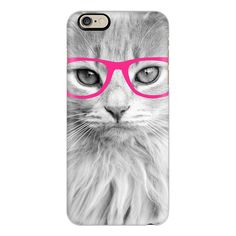 Hippest Cat Pink - iPhone 7 Case, iPhone 7 Plus Case, iPhone 7 Cover,... ($40) ❤ liked on Polyvore featuring accessories, tech accessories, iphone case, slim iphone case, iphone cover case, cat iphone case, iphone cases and apple iphone case