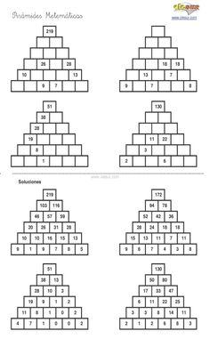 10 fiches autocorrectives avec des pyramides additives de ...
