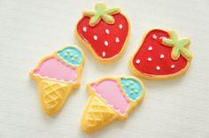 4 pcs Big Strawberry and Ice Cream Cabochon CD427 on Etsy, £2.74